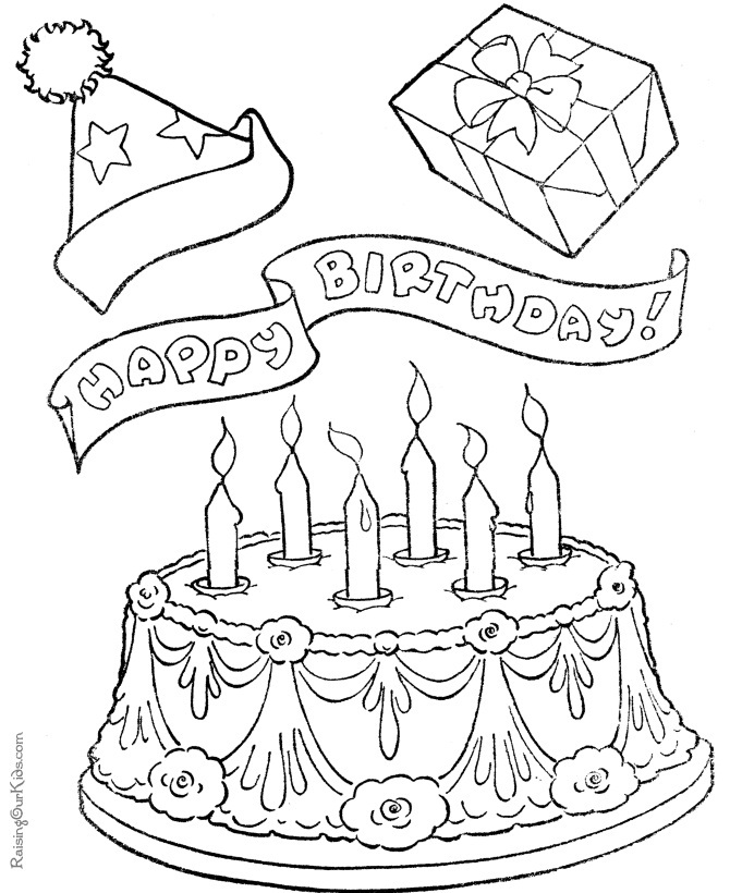 birthday cake coloring book ; Birthday-Cakes-Coloring-Pages