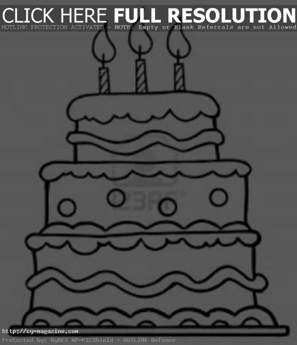 birthday cake coloring book ; Blank-Birthday-Cake-Pic-Photo-Cake-Coloring-Book