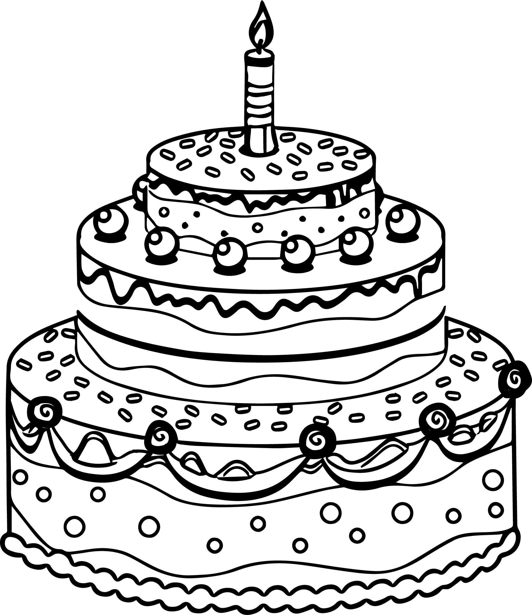 birthday cake coloring book ; Cute-Birthday-Cake-Coloring-Page