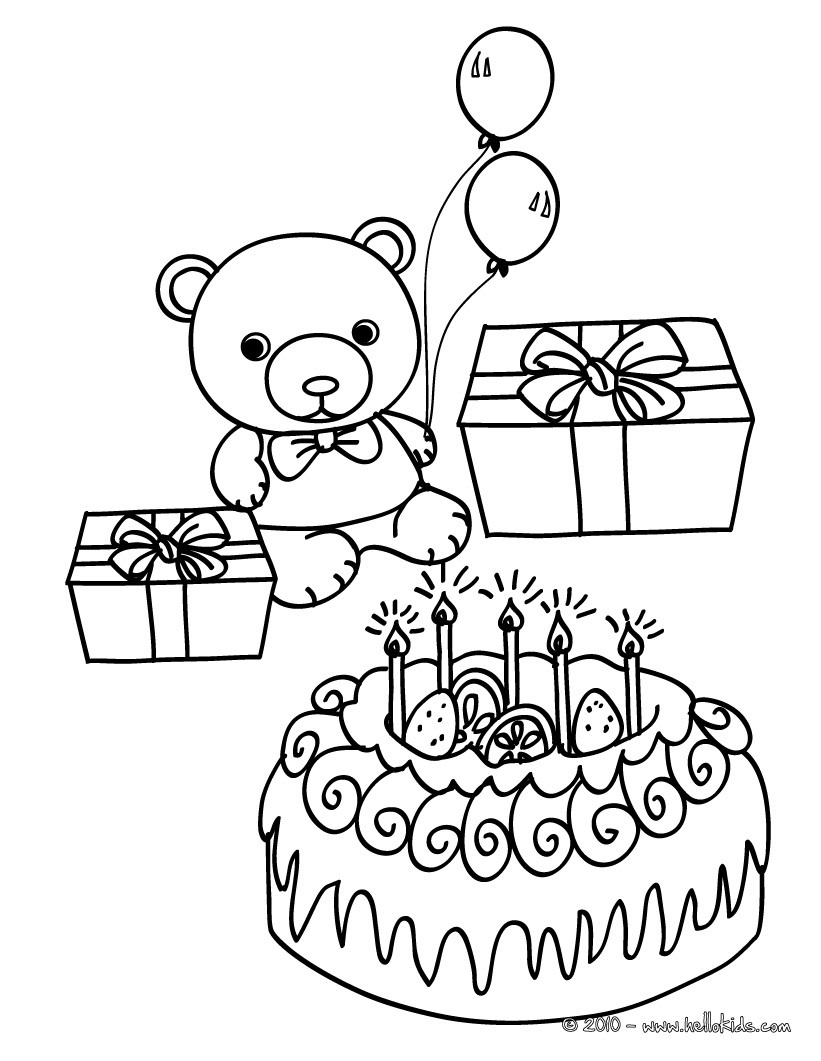 birthday cake coloring book ; birthday-cake-teddy-bear-and-gifts-kawaii-01_xbz_source