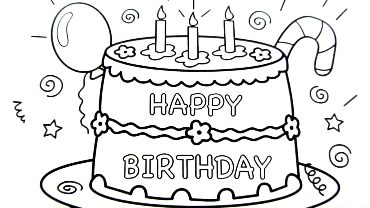 birthday cake coloring book ; maxresdefault