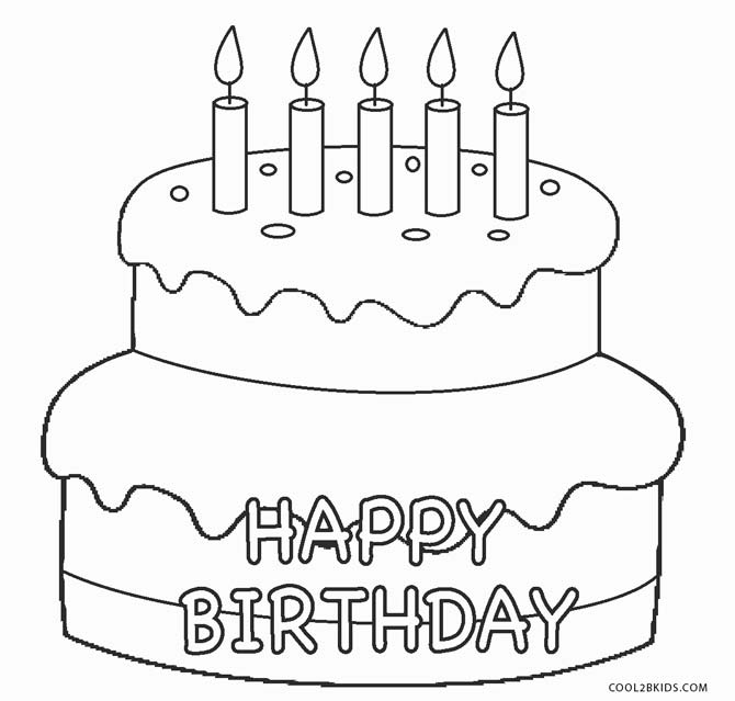 birthday cake coloring page ; Birthday-Cake-Coloring-Pages-Preschool
