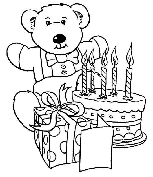 birthday cake coloring page ; Teddy-Bear-and-Present-and-Happy-Birthday-Cake-Coloring-Page