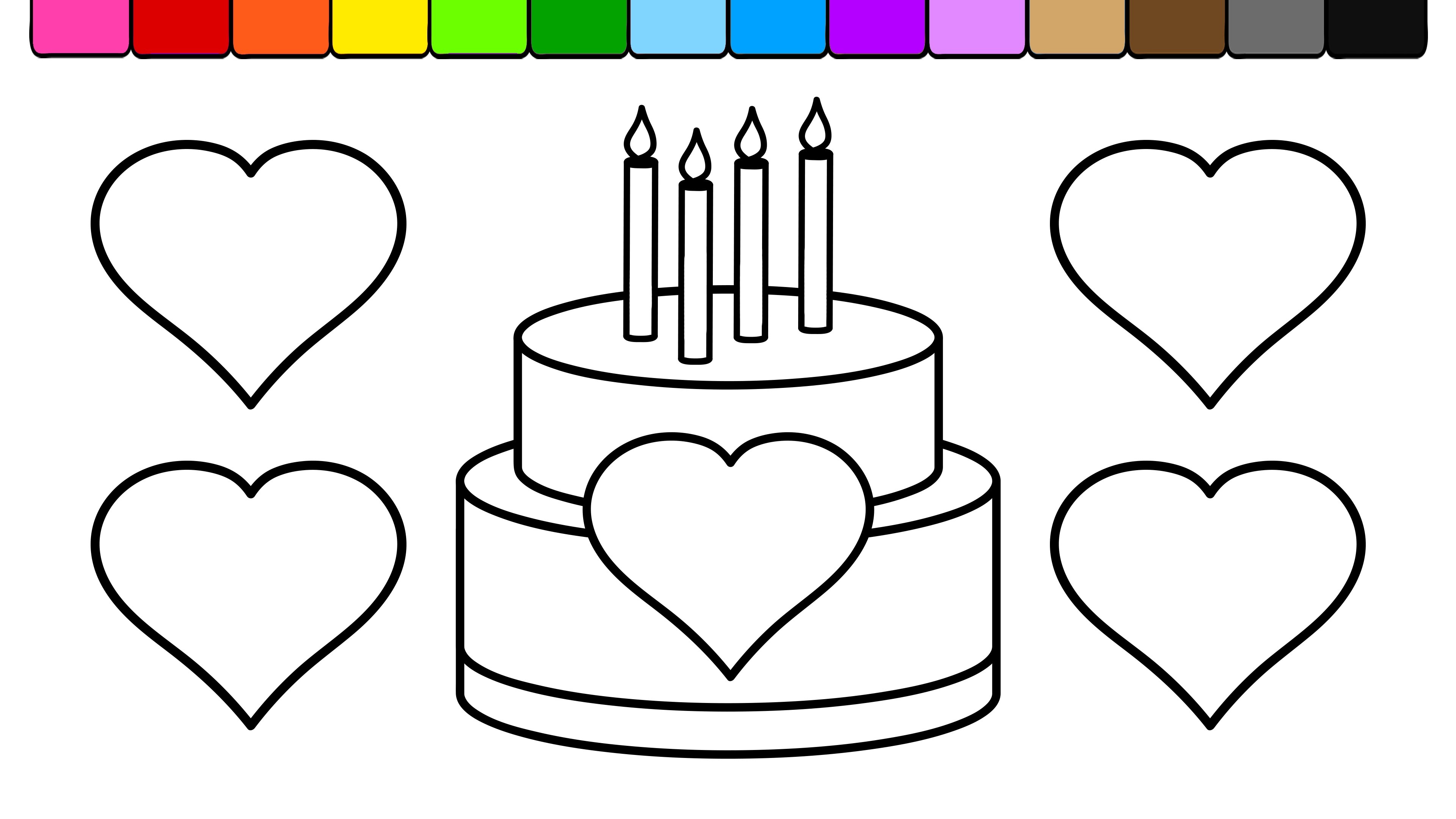 birthday cake coloring page ; maxresdefault