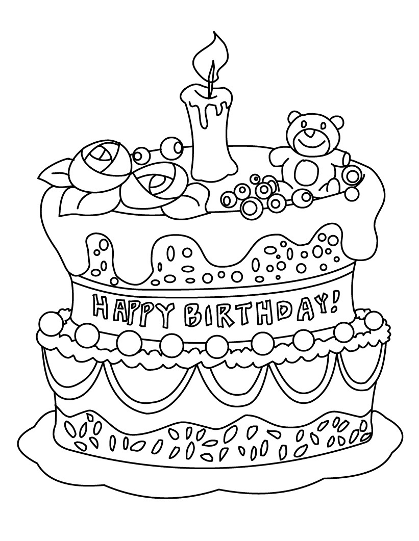 birthday cake coloring page free printable ; Birthday-Cake-Coloring-Pages-for-Kids