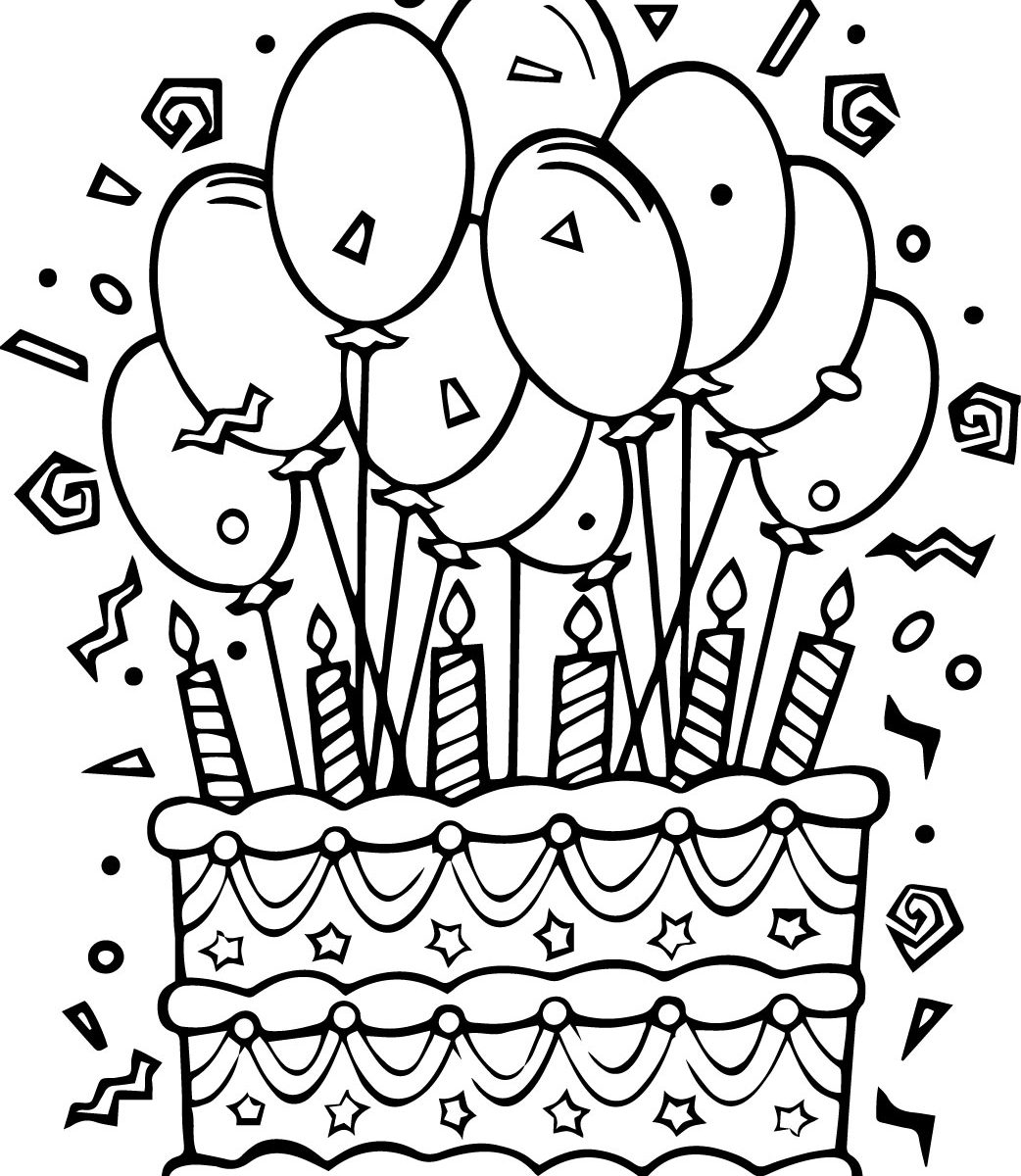 birthday cake coloring page free printable ; birthday-cake-coloring-pages-1042x1200