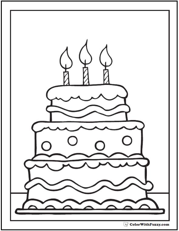 birthday cake coloring page free printable ; birthday-cake-coloring-pages-tiered-birthday-cake-coloring-pages-with-3-candles