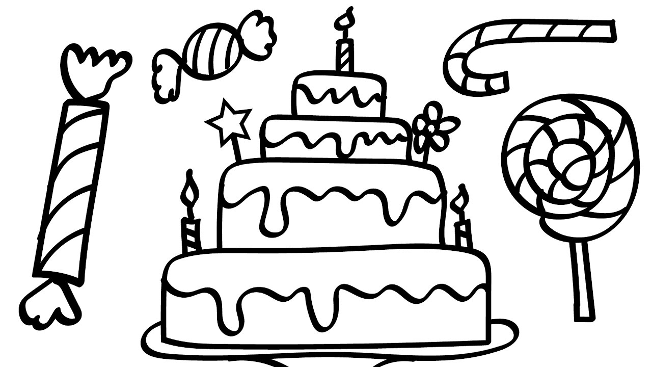 birthday cake coloring pages for kids ; maxresdefault