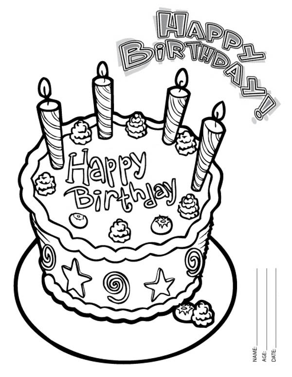 birthday cake coloring pages free ; Happy-Birthday-Cake-with-Four-Candles-Coloring-Page