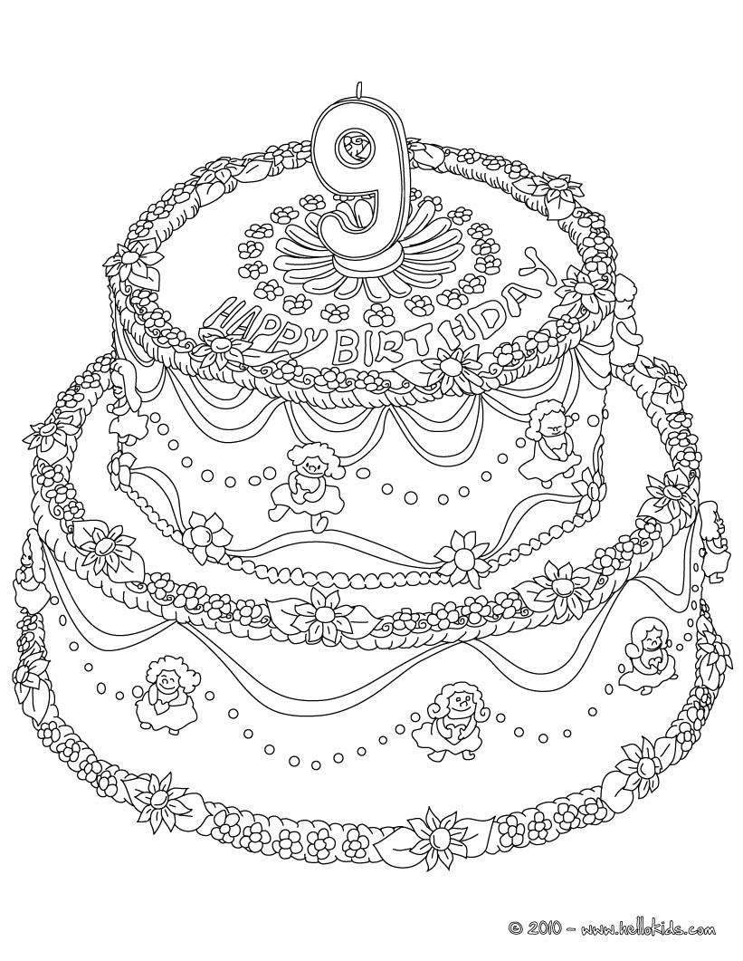 birthday cake coloring pages free ; birthday-cake-number-9-01_wzb_source