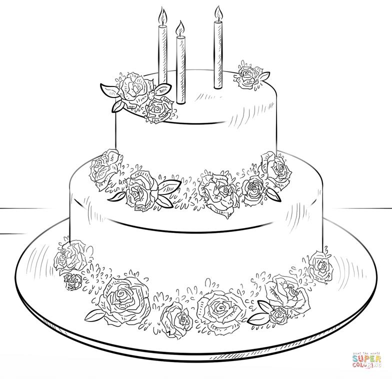 birthday cake coloring printable ; birthday-cake-coloring-page