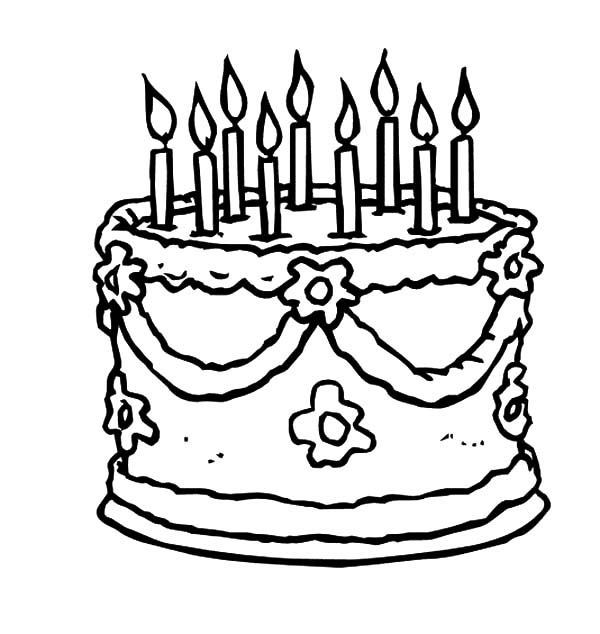 birthday cake coloring sheet ; Beautiful-Birthday-Cake-Coloring-Pages