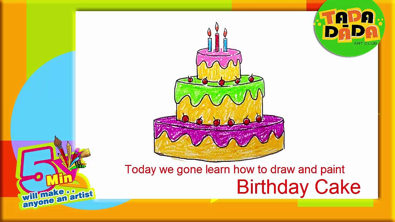 birthday cake drawing for kids ; 1280x720-q3b