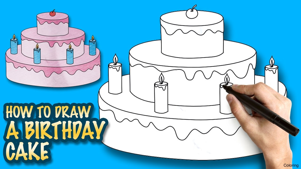 birthday cake drawing for kids ; maxresdefault-how-to-draw-a-cake-coloring-birthday-easy-step-by-drawing-lessons-for-kids-youtube-7f