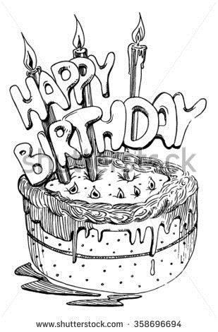 birthday cake drawing images ; stock-vector-sketch-cake-with-candles-for-a-birthday-358696694