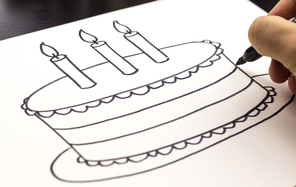 birthday cake drawing step by step ; 7fdce77324e5124bc71e2d67346927ad