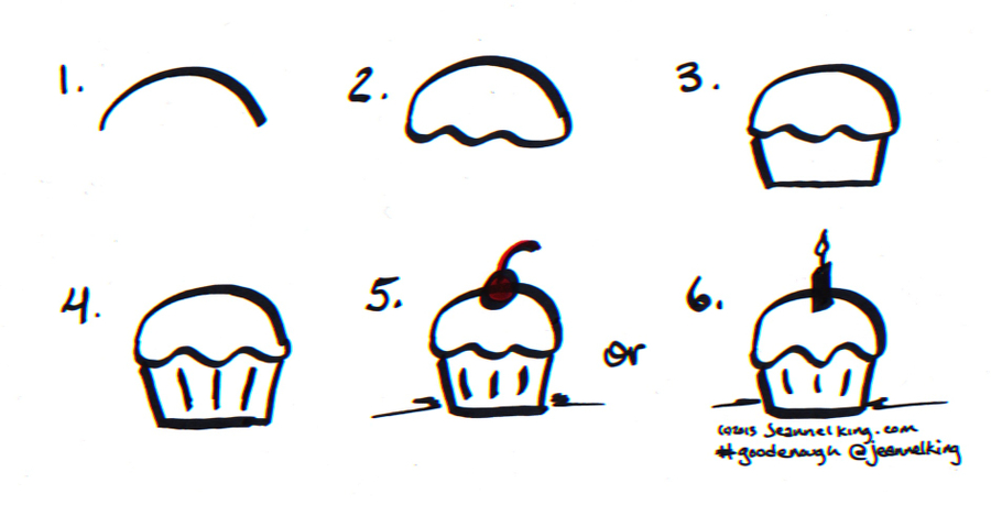 birthday cake drawing step by step ; GoodEnough-BirthdayCupCake