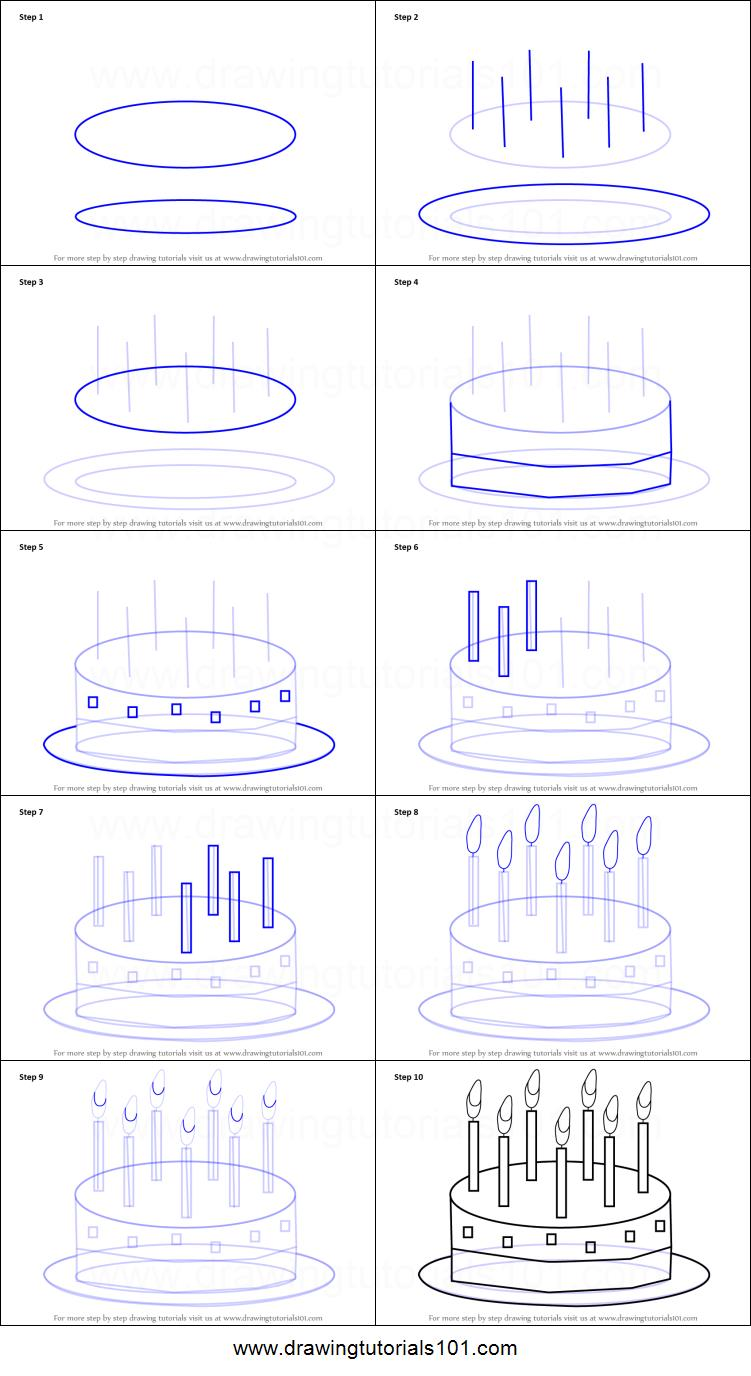 birthday cake drawing step by step ; How-to-Draw-Birthday-Cake-for-Kids-step-by-step