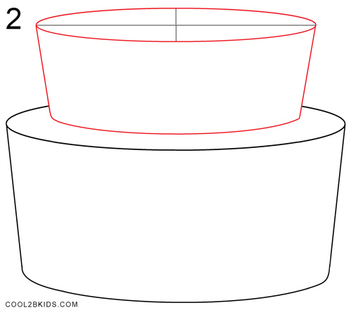 birthday cake drawing step by step ; How-to-Draw-a-Birthday-Cake-Step-2