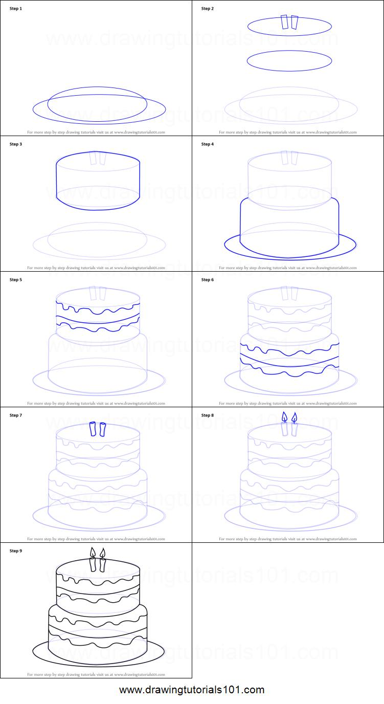 birthday cake drawing step by step ; How-to-Draw-a-Birthday-Cake-step-by-step