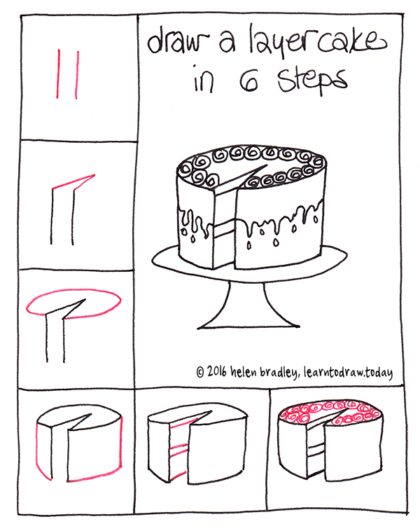 birthday cake drawing step by step ; cake-6-step-2
