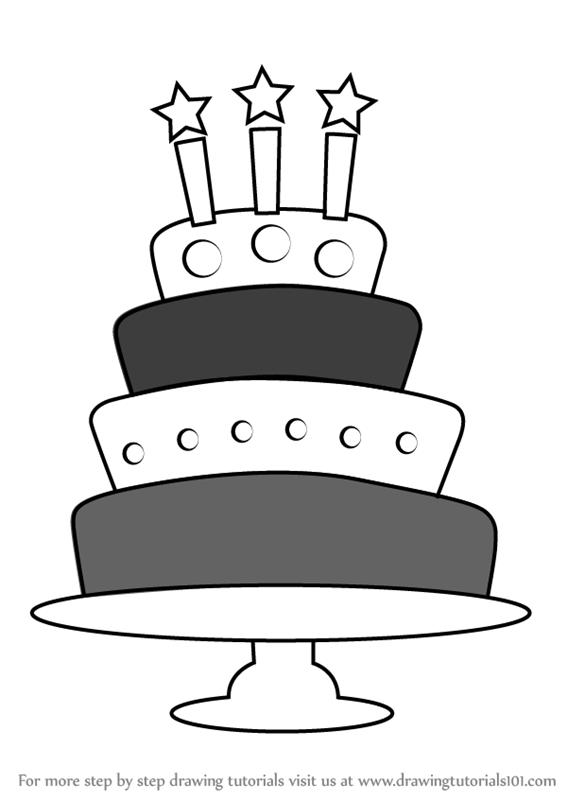 birthday cake drawing step by step ; how-to-draw-Birthday-Cake-step-0