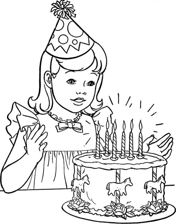 birthday cake for coloring ; A-Little-Girl-with-Happy-Birthday-Cake-Coloring-Page
