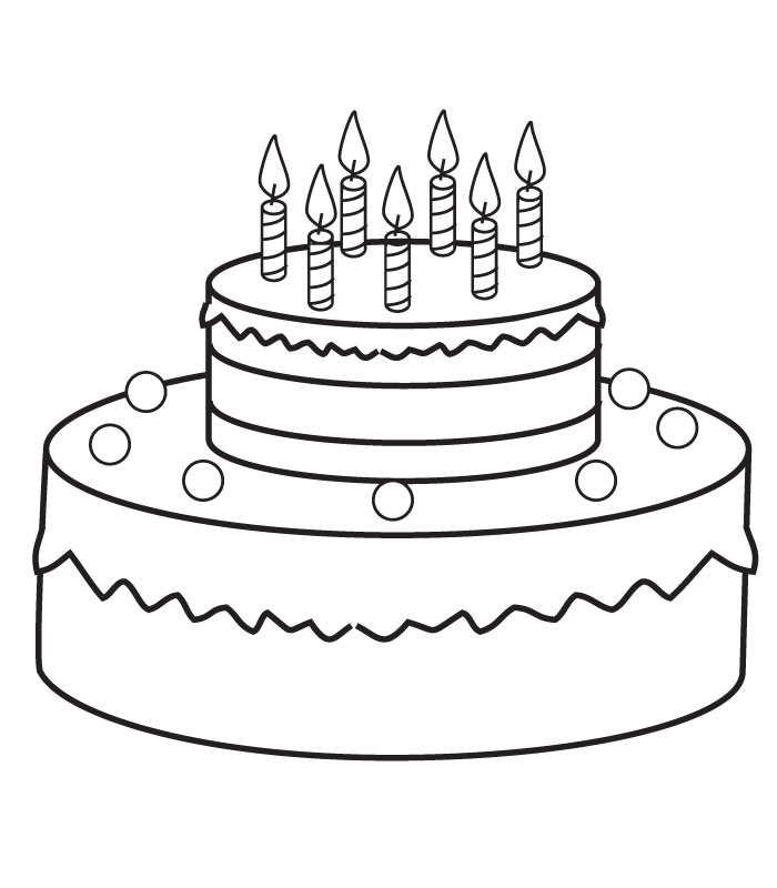 birthday cake for coloring ; Birthday-cake-coloring-pages-with-seven-candles