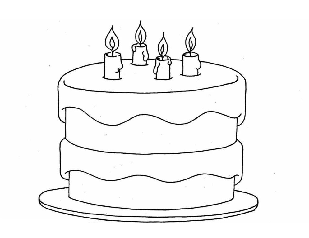 birthday cake for coloring ; Cake-Coloring-Pages-For-Kids