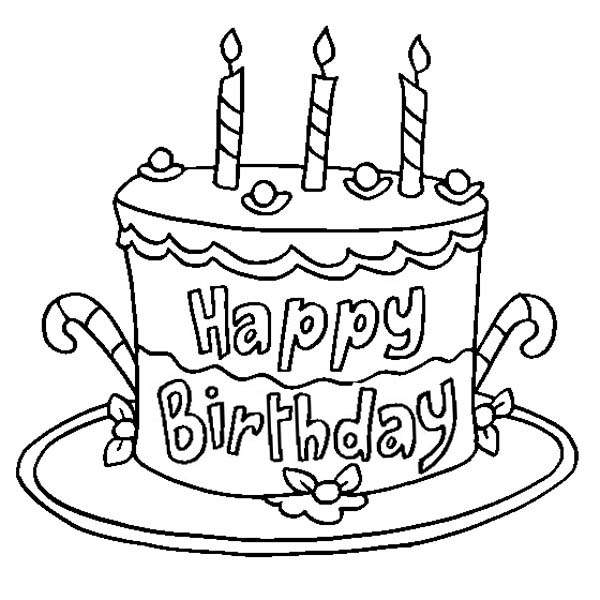 birthday cake for coloring ; Delicious-Happy-Birthday-Cake-Coloring-Page