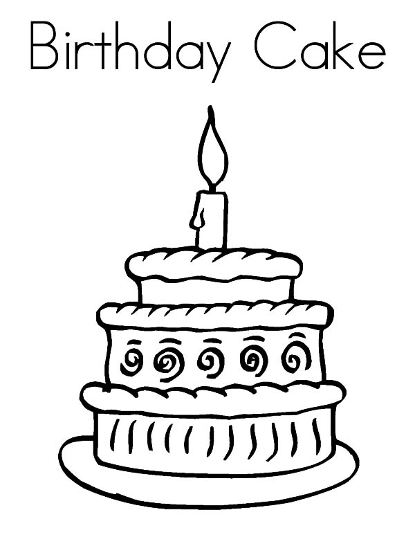birthday cake for coloring ; Happy-Birthday-Cake-Coloring-Pages