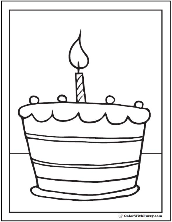 birthday cake for coloring ; birthday-cake-coloring-pages-customizable-printables