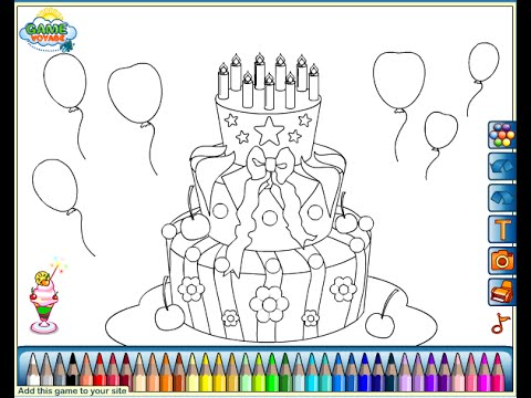 birthday cake for coloring ; hqdefault
