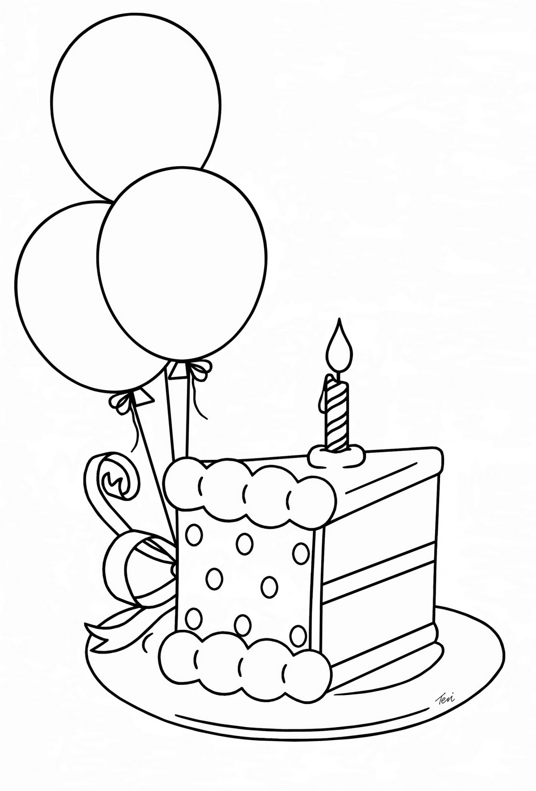 birthday cake for drawing ; Birthday-cake-slice-drawing-4