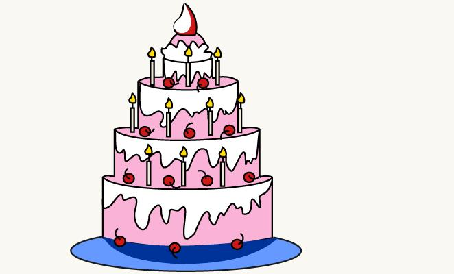 birthday cake for drawing ; drawn-candle-easy-3
