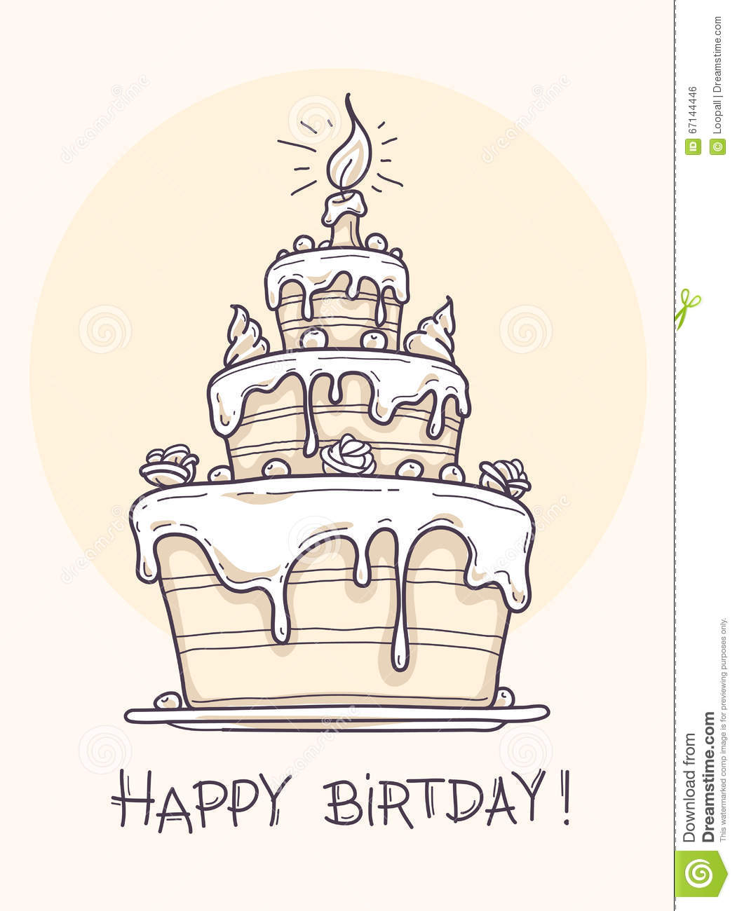 birthday cake for drawing ; greeting-card-big-birthday-cake-contour-drawing-vector-illustration-transparent-objects-used-lights-shadows-drawing-67144446