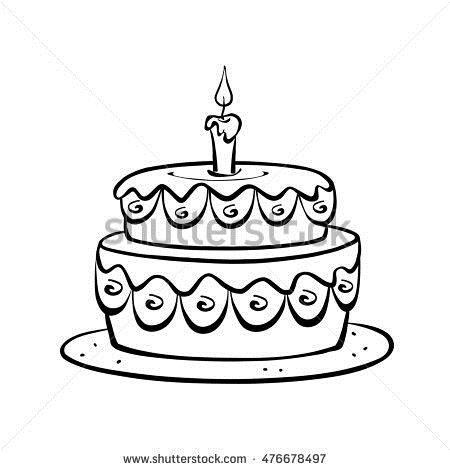 birthday cake for drawing ; stock-photo-decorated-birthday-cake-with-a-single-candle-drawing-in-black-and-white-colors-digital-476678497