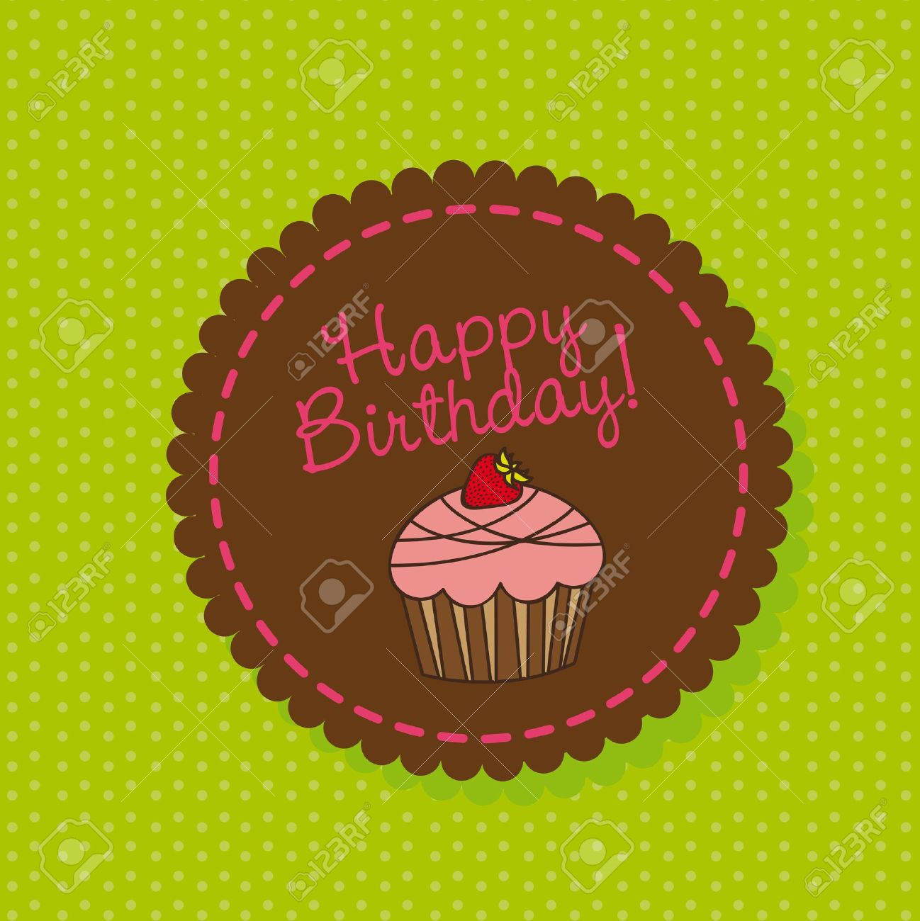 birthday cake labels ; 13032643-cute-cup-cake-over-label-happy-birthday-vector-illustration