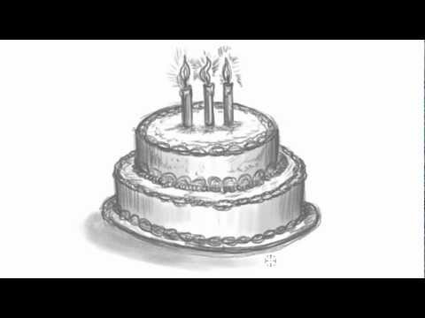 birthday cake pencil drawing ; drawn-birthday-zooshii-19