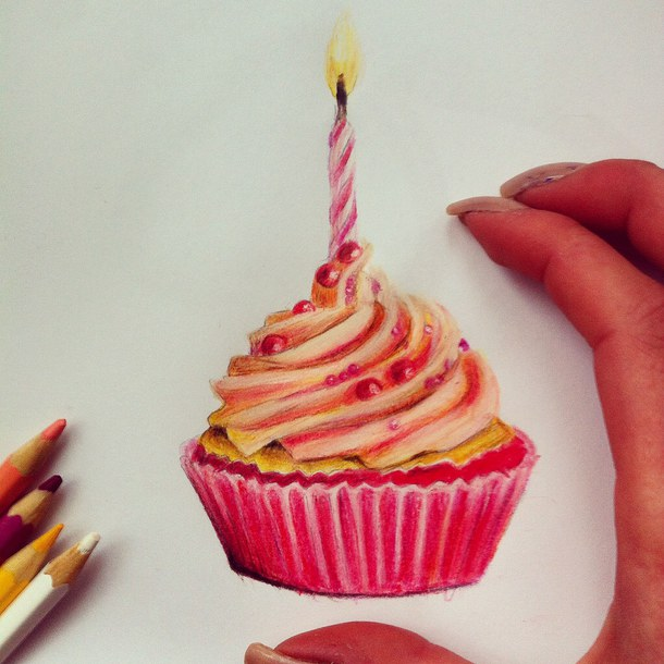 birthday cake pencil drawing ; drawn-cake-pencil-drawing-15