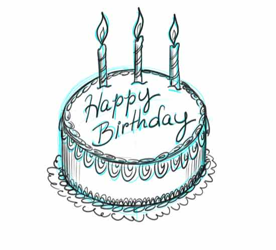 birthday cake pencil drawing ; drawn-candle-card-easy-17
