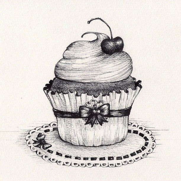 birthday cake pencil drawing ; drawn-pen-cupcake-13