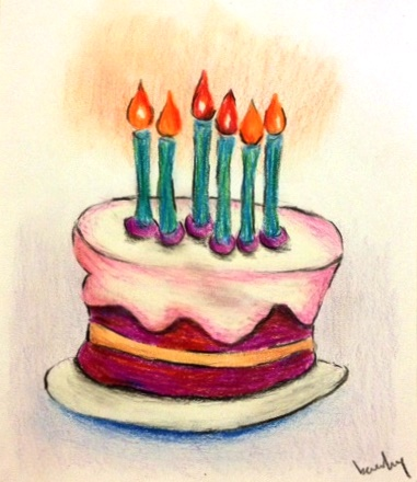 birthday cake pencil drawing ; image1