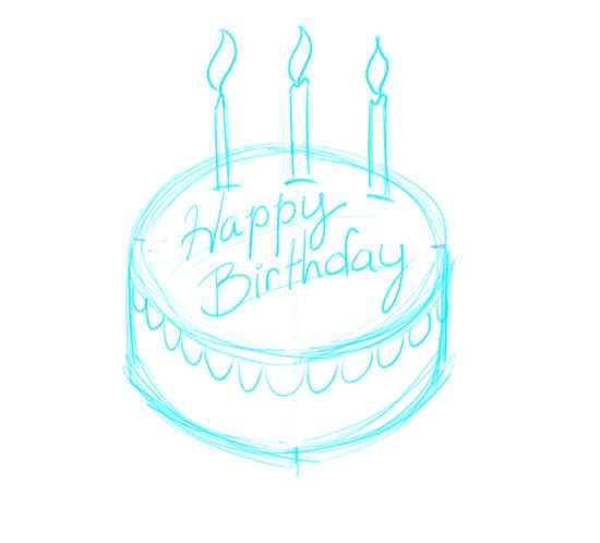 birthday cake pencil drawing ; make-your-own-birthday-cards-step-6