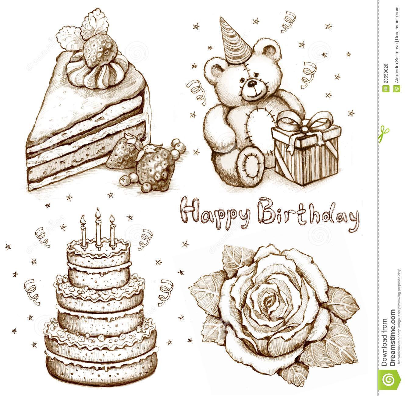 birthday cake pencil drawing ; set-birthday-illustrations-23559028