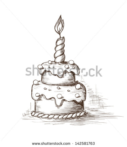 birthday cake pencil drawing ; stock-vector-hand-drawn-celebration-cake-142581763