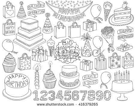 birthday cake pencil drawing ; stock-vector-happy-birthday-doodles-set-birthday-pencil-effect-sketches-birthday-cake-present-boxes-and-416379265