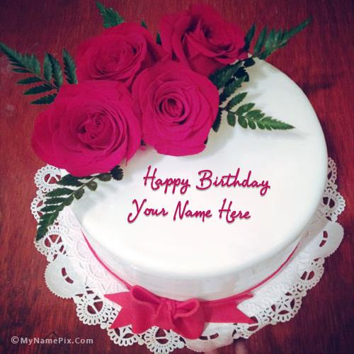 birthday cake pic with name and photo ; lovely-roses-birthday-cake_name_pix_2407