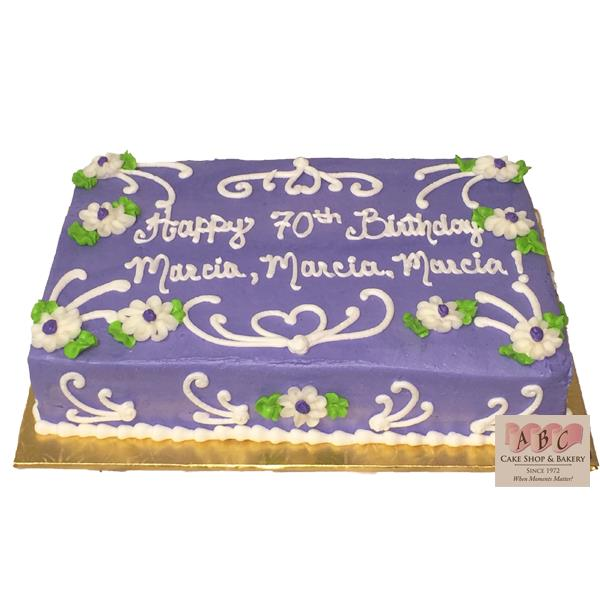birthday cake sheet cake ; 1818-70th-birthday-purple-sheet-cake-abc-cake-shop-bakery-70th-birthday-sheet-cake