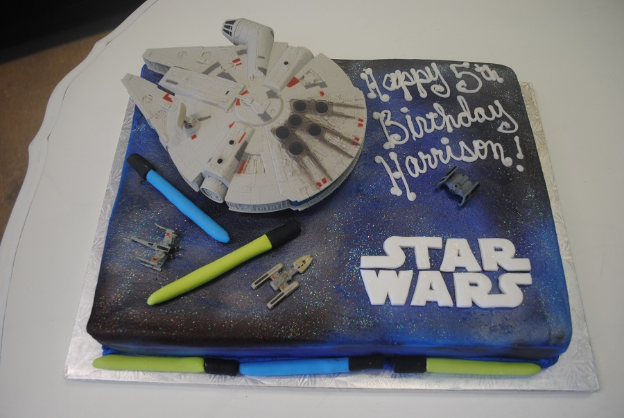 birthday cake sheet cake ; Birthday-Sheet-cake-Star-Wars-theme-with-ship